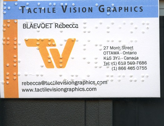 Embossed business card for rebecca Blaevoet