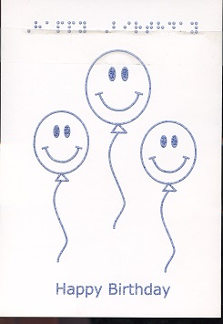 Braille and Tactile Greeting Card Birthday Smiley Balloons
