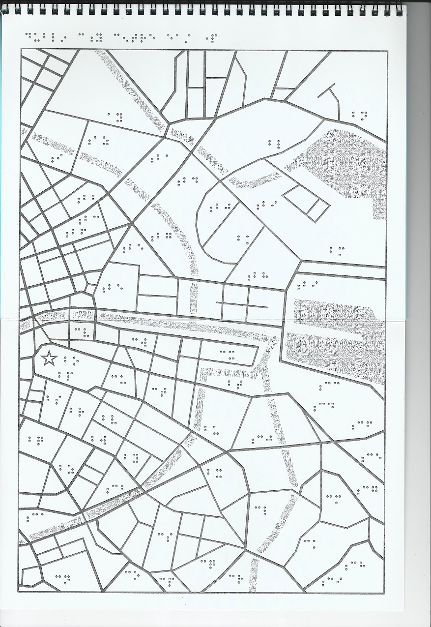 Tactile Map Dublin City Centre East Side Shows from Cloniffe Road and Jones Road to Merrion road